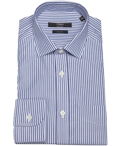 Z Zegna  - Stripe Cotton Spread Collar Dress Shirt