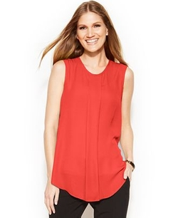 Vince Camuto  - Sleeveless Front-Pleat Blouse