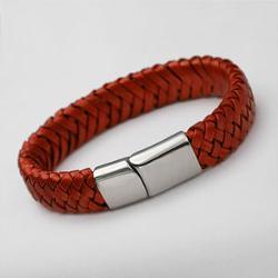 Stick Jewelry - Braided Red Leather ID Bracelet
