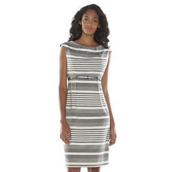 Dana Buchman  - Striped Pleated Sheath Dress