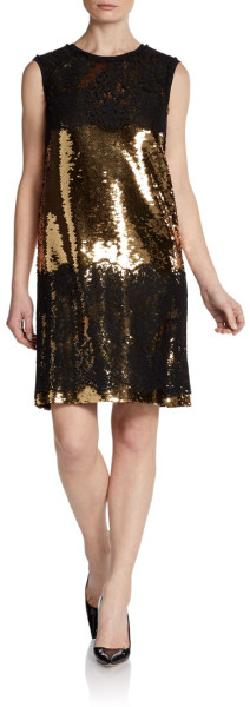 Dolce & Gabbana  - Sleeveless Lace & Sequin Dress