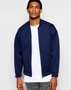 Asos - Drop Shoulder Neoprene Bomber Jacket