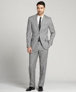 JOSEPH ABBOUD  - Microcheck Wool Two-Button Suit