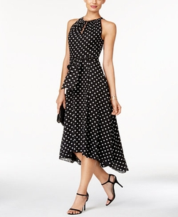 Tahari ASL  - Dot-Print High-Low Midi Dress
