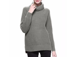Clothink  - Women Roll Neck Split Side Sweater
