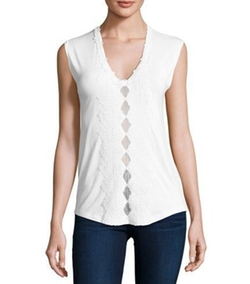 Elie Tahari - Harley Sleeveless Crochet-Trim Knit Top