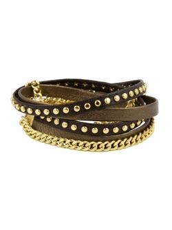 Alexandra Beth Designs  - Chain And Leather Wrap Bracelet