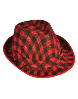 Rhode Island Novelty  - Deluxe Red and Black Plaid Pattern Fedora Hat