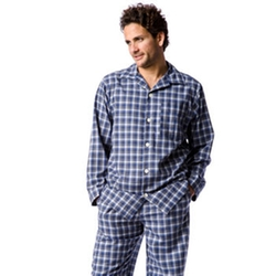 PJ Pan - Dark Blue Check Brushed Cotton Pyjamas