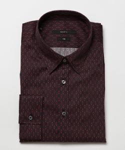 GUCCI - Red And Navy Oval Pattern Cotton Point Collar Dress Shirt