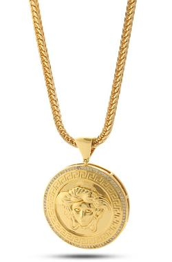 King Ice - 14k Gold Medusa Shield Necklace