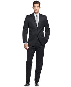 Marc New York by Andrew Marc  - Tonal Herringbone Texture Trim-Fit Suit