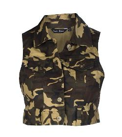ESSENTIALS  - CROPPED CAMO MILITARY VEST