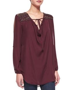Haute Hippie  - Embellished-Shoulder Front-Tie Blouse