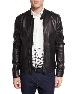 Versace Collection  - Basic Zip-Up Leather Jacket