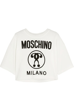 Moschino - Cropped Printed Jersey T-Shirt