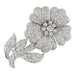 Miadora  - White Gold, Diamond Flower Brooch