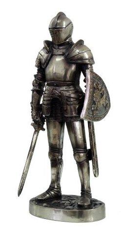 "PTC - Medieval Knight 7"" Tall Valiant Swordsman Statue Figurine Suit of Armor"