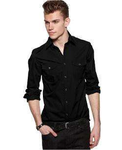Kenneth Cole  - Reaction Shirt, Long Sleeve Double Pocket Shirt