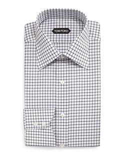Tom Ford - Windowpane-Pattern Silk Dress Shirt