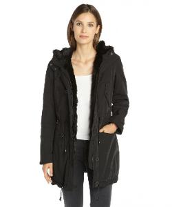 Marc New York  - Woven Faux Fur Trim Hooded