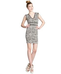 BCBGMAXAZRIA - Fancy Leopard Sleeveless V-Neck Dress