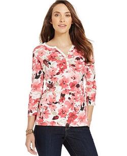 Karen Scott - Watercolor-Floral Henley Top