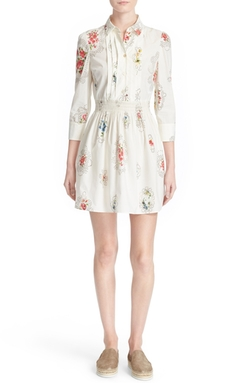Red Valentino - Framed Floral Print Cotton Dress