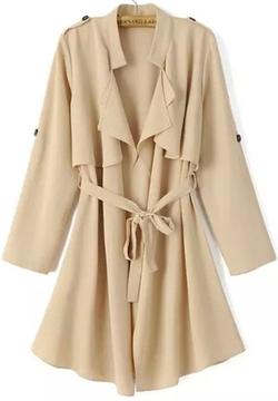 Romwe - Epaulet Tie-waist Trench Coat