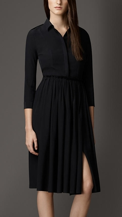 Burberry - Skirted Silk Shirt Dress