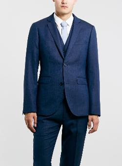 Topman - Navy Textured Skinny Three Piece Suit