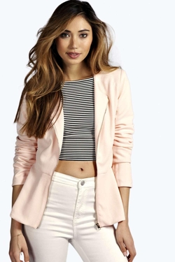 Boohoo - Maisie Textured Zip Up Peplum Blazer