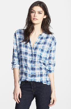 James Perse  - Collarless Plaid Blouse