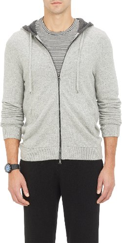 Vince - Tipped Zip-Front Hoodie