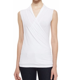 Velvet - Sleeveless Surplice-Neck Top
