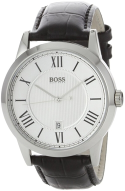 Boss Hugo Boss  - Silver Dial Black Leather Watch