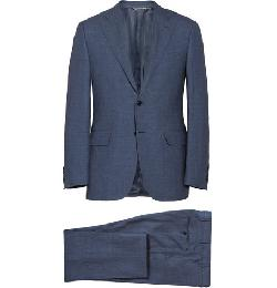 Canali - Navy Linen, Wool And Silk-blend Suit