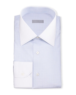 Stefano Ricci - Contrast-Collar Check Dress Shirt
