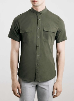Topman - Khaki Military Short Sleeve Smart Shirt