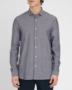 M.Studio - Amare Grey-Blue Chambray Cotton Shirt