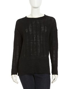 Vince  - Long-Sleeve Linen Knit Sweater
