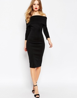 Asos Collection - Bardot Midi Pencil Dress