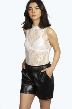 Boohoo Night - Elisa Lace High Neck Sleeveless Top