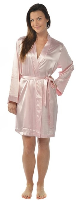 Leisureland - Satin Charmeuse Knee-Length Kimono Robe