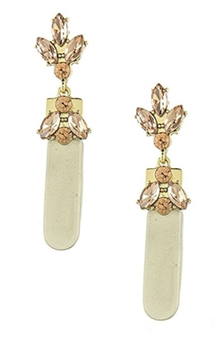 Karmas Canvas  - Crystal Encrusted Acrylic Bar Drop Earrings