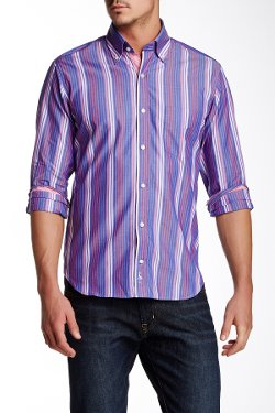 TailorByrd  - Button-Down Collar Long Sleeve Striped Shirt
