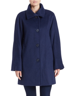 Ellen Tracy - Single-Breasted Wool-Blend Coat