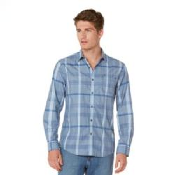 Axist - Chambray Plaid Slim-Fit Casual Button-Down Shirt - Men