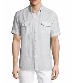 Neiman Marcus - Linen Short-Sleeve Shirt