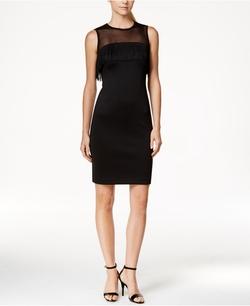 Calvin Klein - Illusion Mesh Fringe Sheath Dress